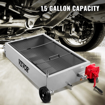 Vevor Low Profile Oil Drain Pan Truck Drain Pan 15 Gallon With Pump Hose Casters