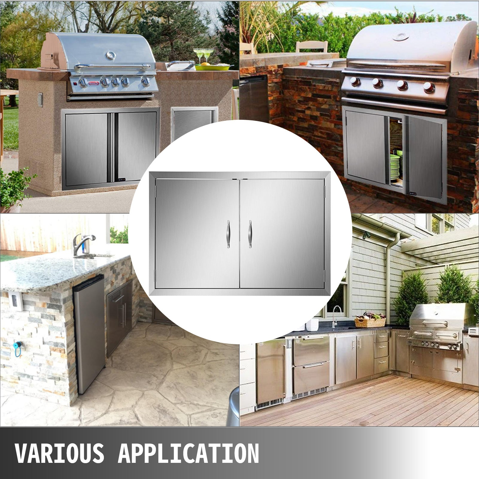 39wx26h Stainless Steel Walled Double Bbq Door W/ Handle Outdoor Bbq Fit Kitchen