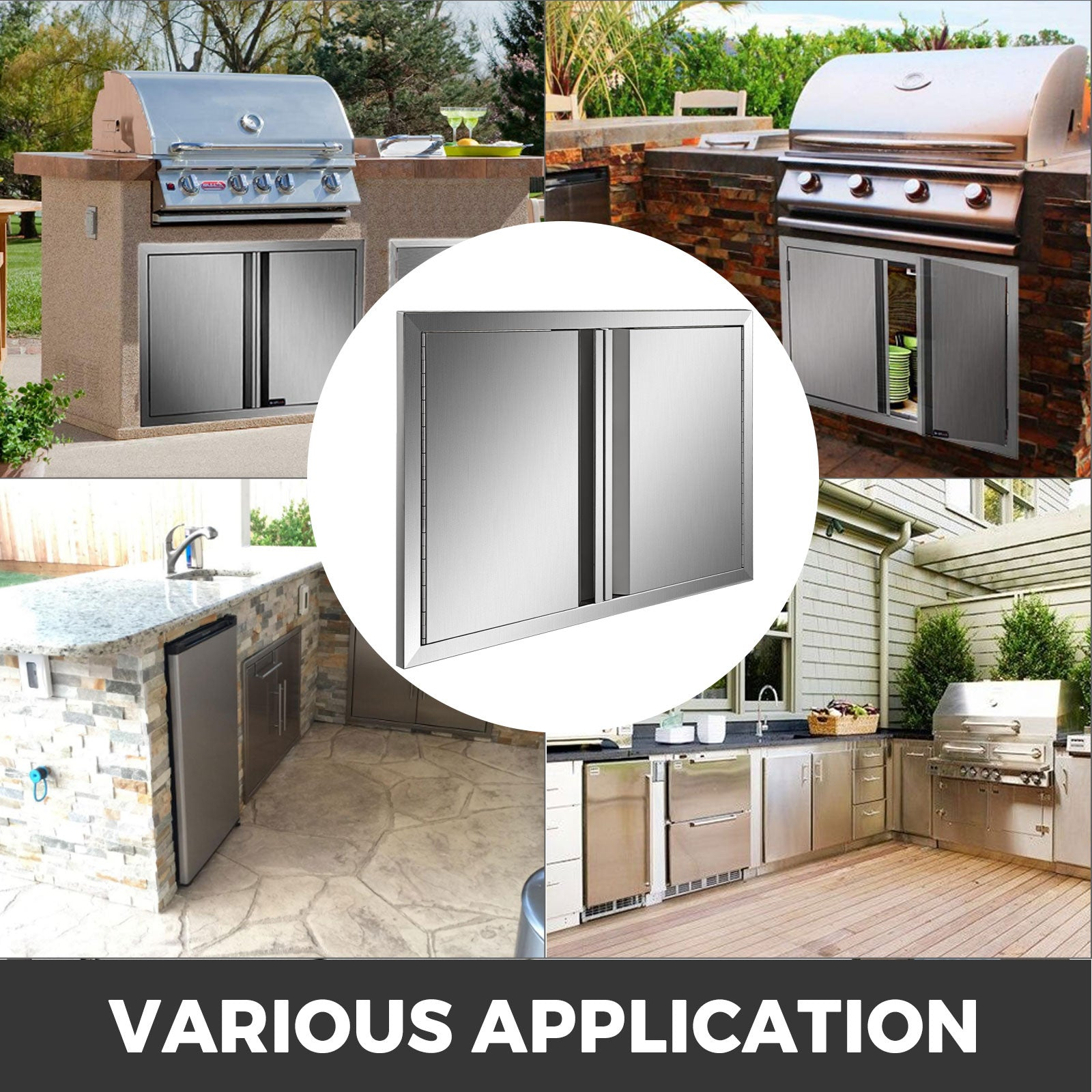 "30.5""x 21"" Bbq Access Double Door Outdoor Kitchen Island Stainless Steel Walled"