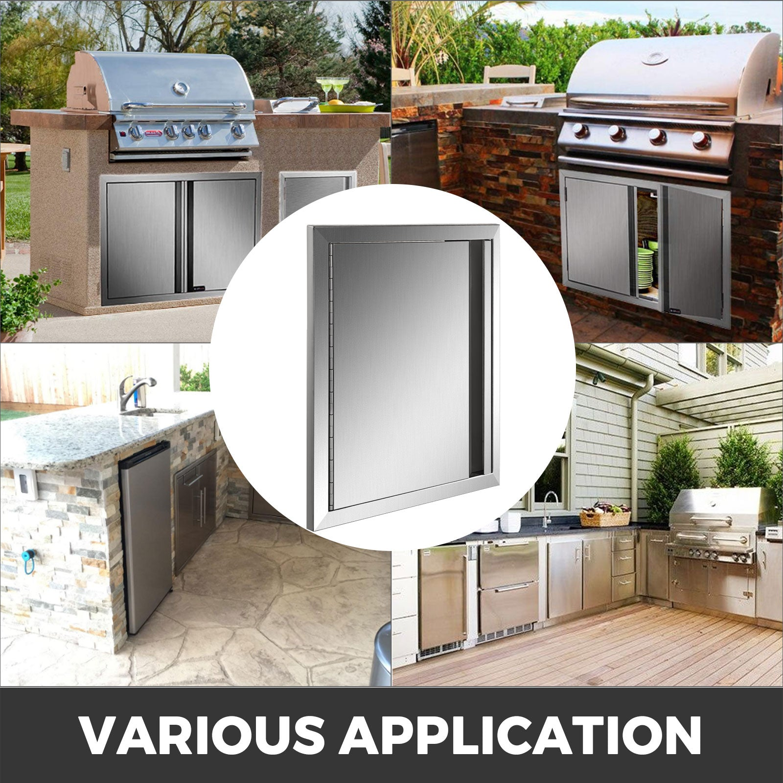"17"" X 24"" Bbq Access Single Door Outdoor Kitchen Island Stainless Steel Walled"