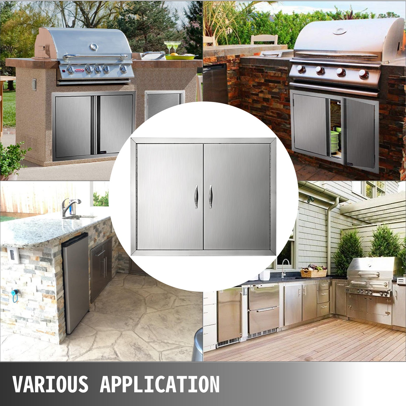 "Bbq 31""x24"" Access Double Walled Door Stainless Doors Storage Outdoor Grill"