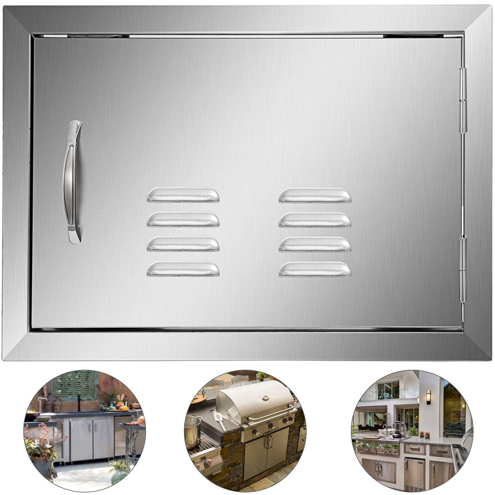 "Single Access Bbq Door 14""x20"" Outdoor Kitchen With Vent Polished Modern Frame"
