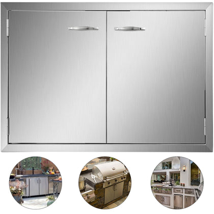 "33"" Stainless Steel Double Access Bbq Door W/ss Handle Cabinet Polished Cabinet"