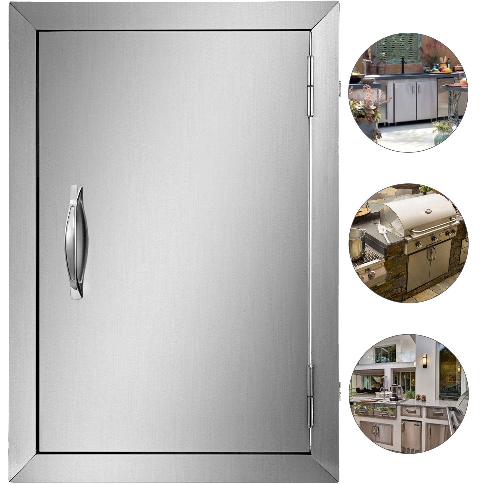 Bbq Island Stainless Single Door Walled 14w X 20h W/ Ss Handle Cooking Outdoor