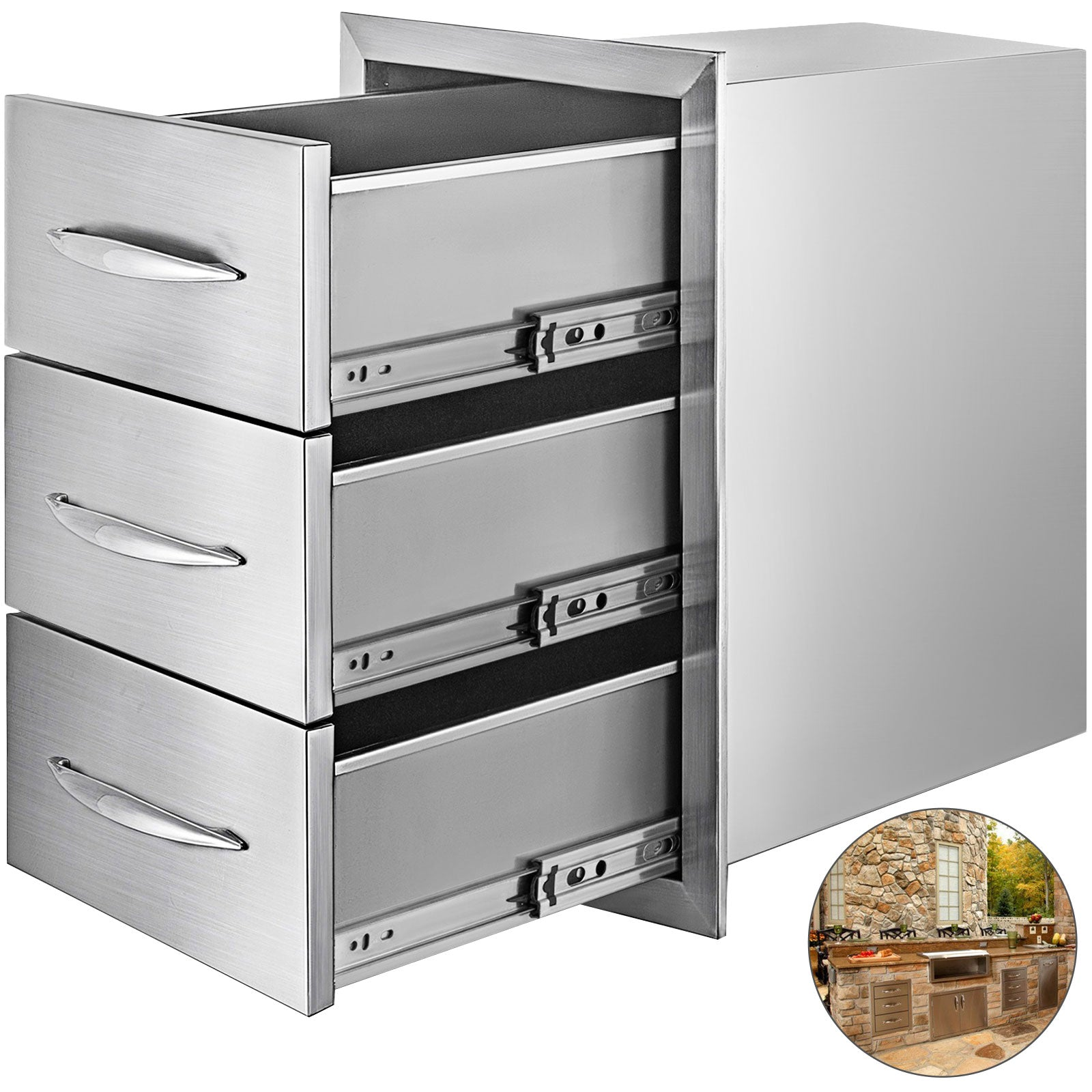 15.7 X 21.6 Bbq Drawer Outdoor Kitchen Drawers Triple Flush Convenient Storage