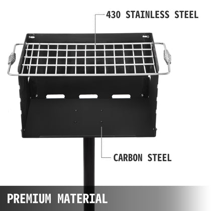 Heavy Duty Charcoal Grill Bbq Large Single Post Park Style Outdoor Cooking 20