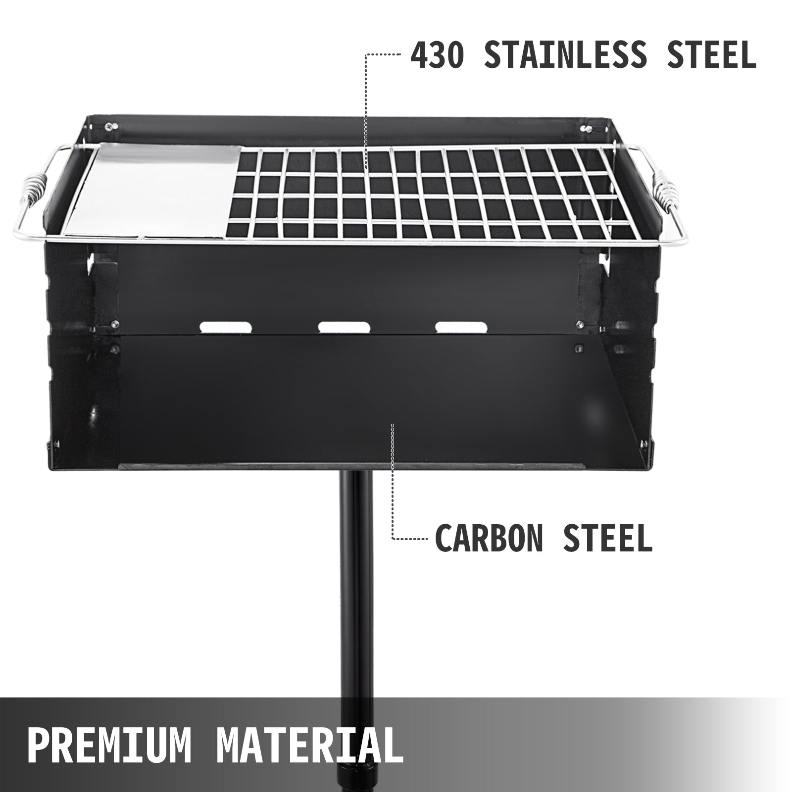 "Single Post Park Charcoal/ Wood Steel Cooking Bbq Picnic Camping Grill 24""x16"""