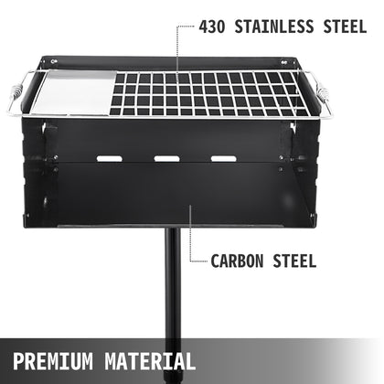 Single Post Park Charcoal/ Wood Steel Cooking Bbq Picnic Camping Grill 24