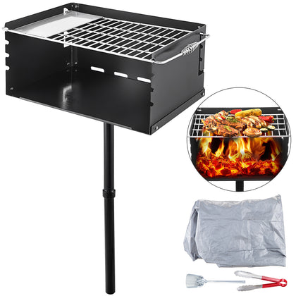 Park-style Camping Outdoor Double Post Steel Bbq Charcoal Grill W/ Cooking Grate