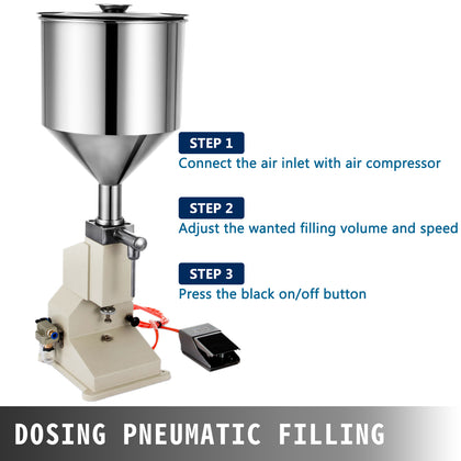 Pneumatic Liquid Paste Filling Machine For Cream Shampoo Cosmetic 5~50ml Top A02