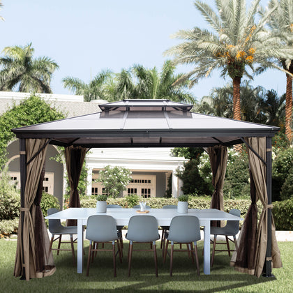 Patio Gazebo Canopy Hardtop With Mosquito Netting 10x10 Ft Outdoor Gazebo Canopy