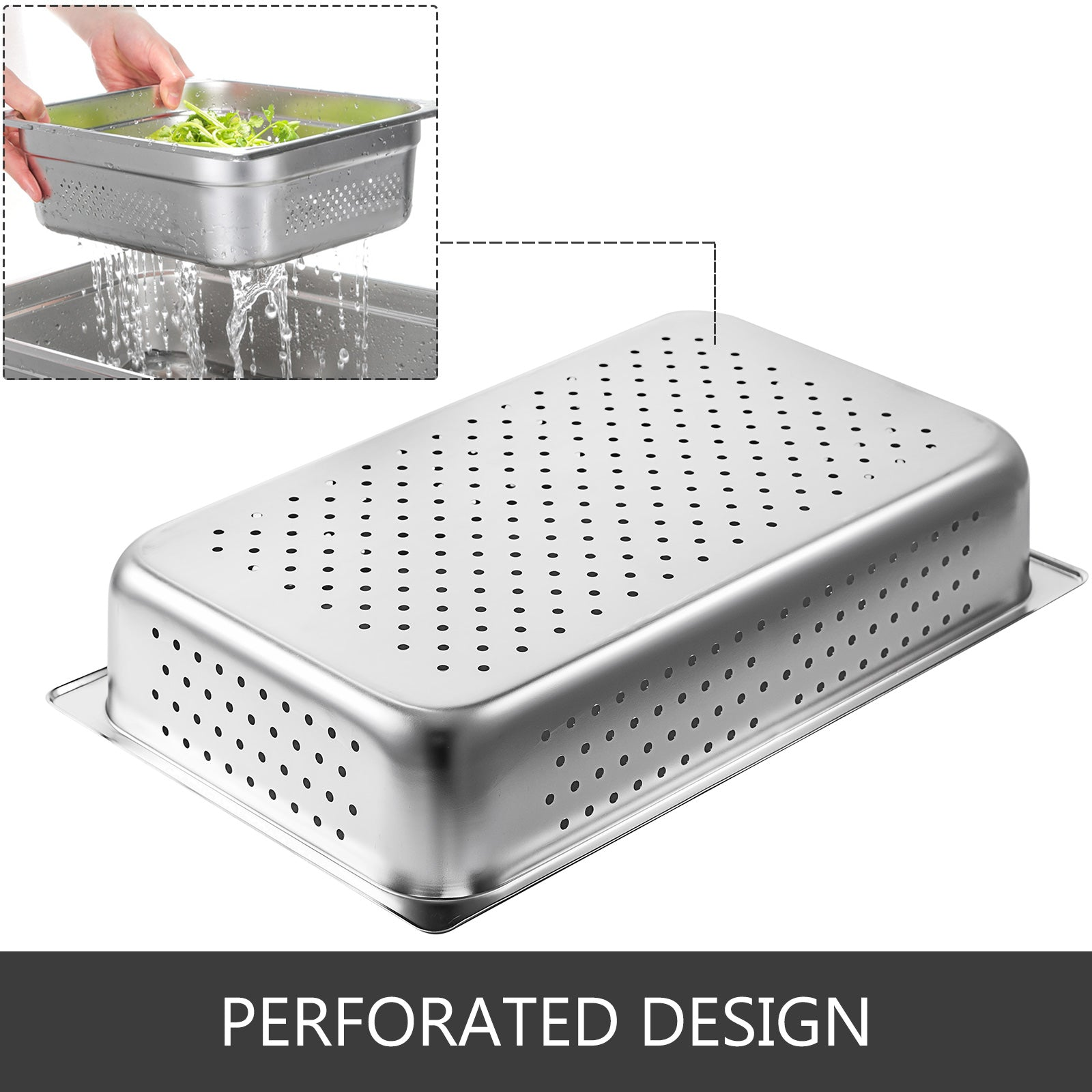 "4x Perforated Steam Table Pans Full Size 4"" Deep Bain-marie Catering Food Warmer"