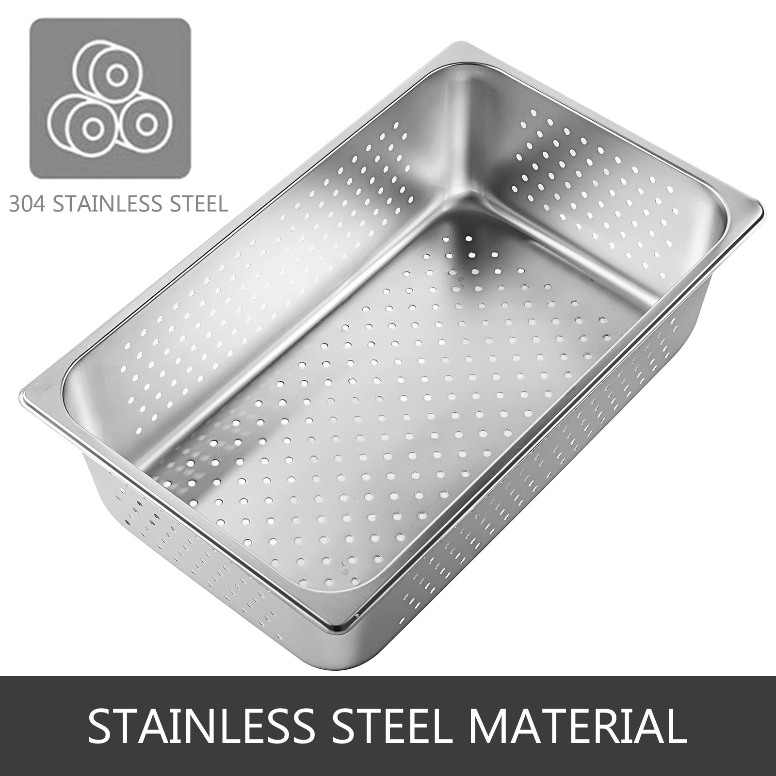 Perforated Set Of 6 Full Size 6 Deep Anti-jam Stainless Steel Steam Table Pan