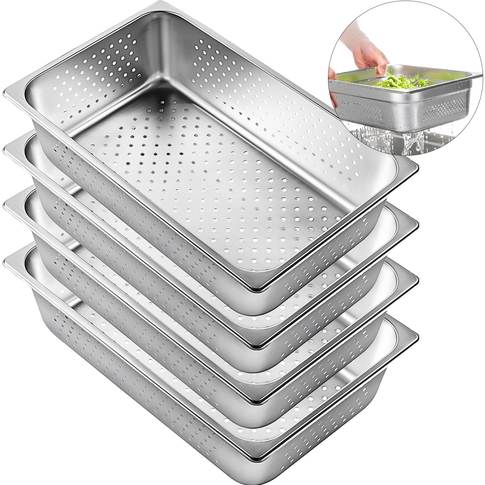 "Perforated Steam Table Pan Hotel Full Size 6""deep Stainless Steel Pans 4 Pack"