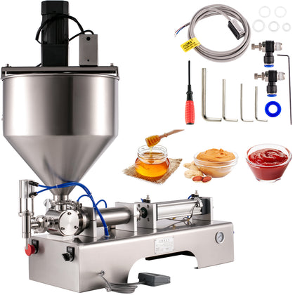 Mixing Hopper 50-500ml Paste Chilly Sauce Piston Filling Machine With Mixer 110v