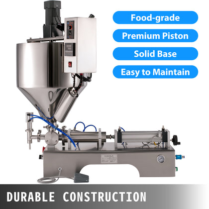 110v 100-1000ml Paste Liquid Heating Mixing Filling Machine With Vertical Hopper