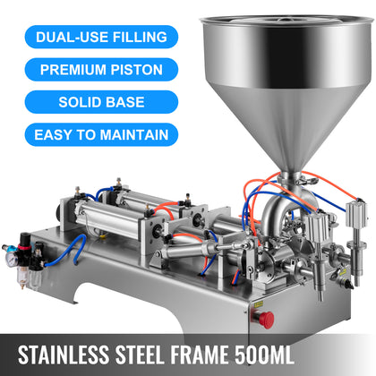 50-500ml Liquid Filling Machine Pneumatic Paste Oil Fluid Viscosity Double Heads