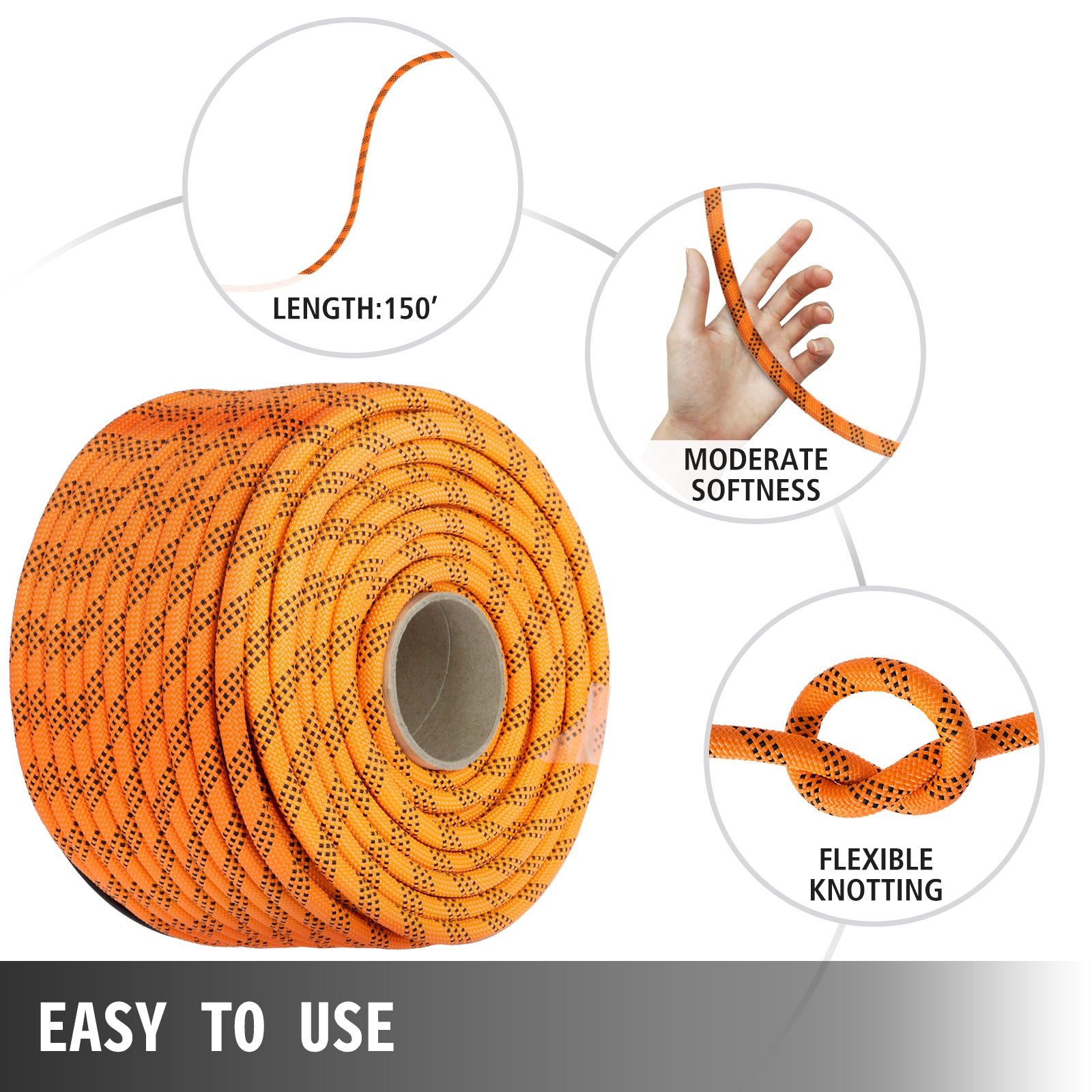 "Polyester Rope9/16"" X 140', Load And Pulling Rope, 8600lbs Breaking Strength (not Suitable For Rocking Climbing, Mountain Climbing, Hanging People, Etc.)"