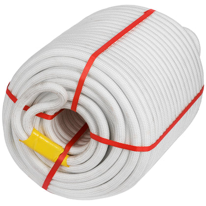 100 Feet Double Braid Polyester Rope 7/16 8400lbs Breaking Strength New