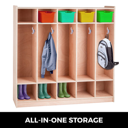 Preschool Coat Locker Storage Cabinet Cubby Locker 5-section Toddlers And Kids