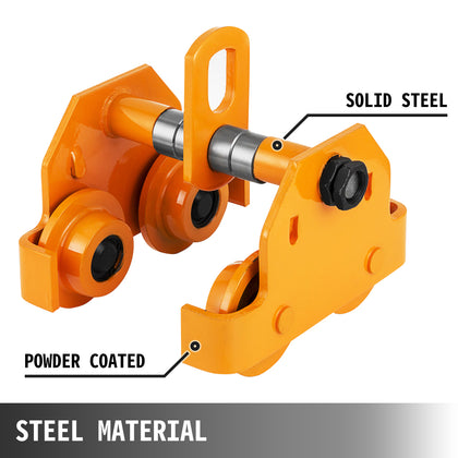 2t Push Beam Trolley Track Roller Hoist Solid Steel Track Trolley