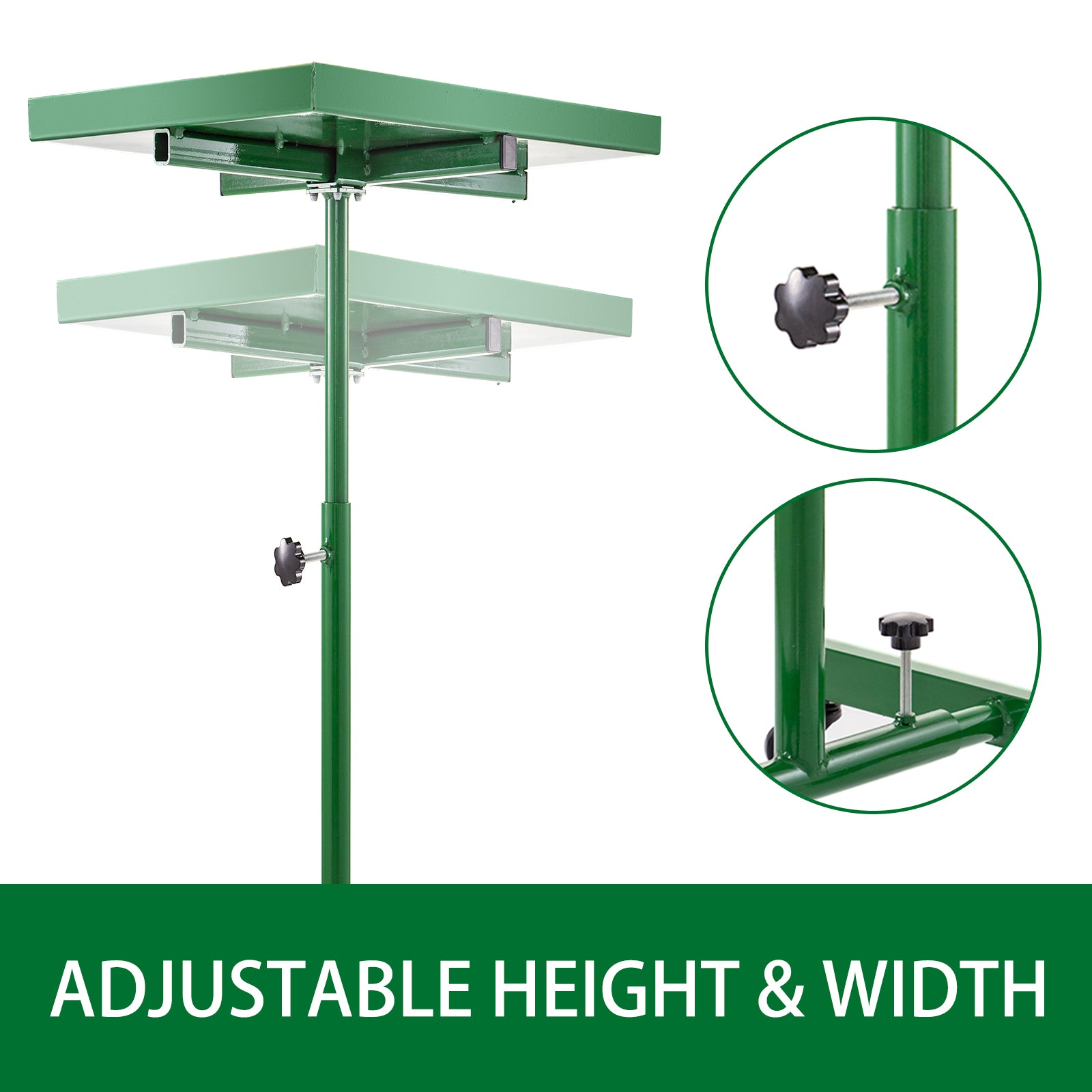 Rolling Tool Table Tear Down Tray 220lbs Adjustable Height For Holding, Green