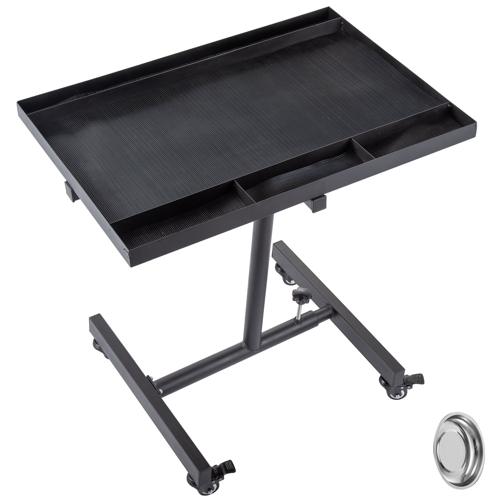 Rolling Tool Table Tear Down Tray 220lbs Adjustable Height For Holding, Black