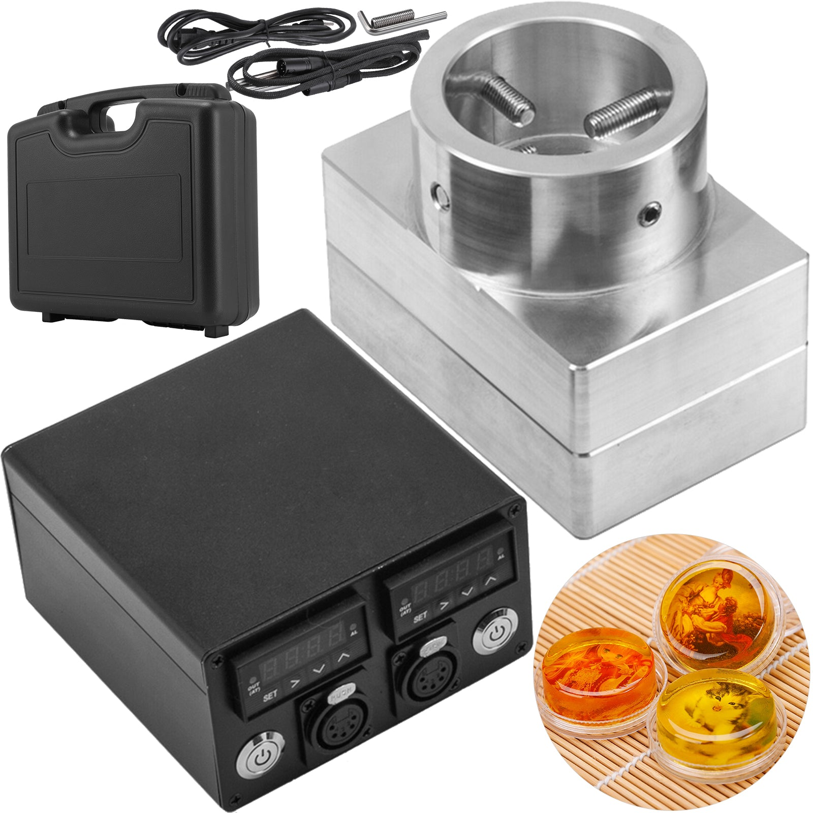 "3x5"" Rosin Press Plates Kit With Heating Rod Rosin Press Machine Temp Controller"