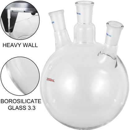 Vevor 2000ml 24/40 Joint Lab Glass Flask Round Bottom Three Short Necks
