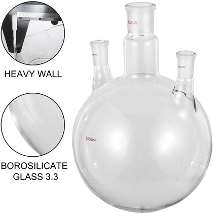 Vevor 5l 24/40 & 34/45 Joints Lab Glass Flask Round Bottom Three Short Necks