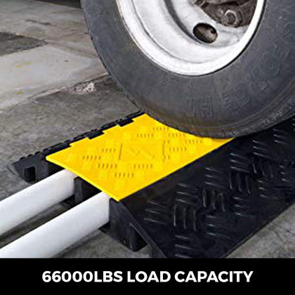 2-channel Cable Protectors Ramps Rubber Cable 66000lbs Axle Capacity Protective