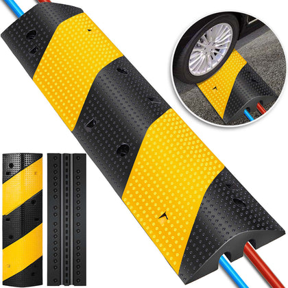 2 Channel Rubber Speed Bump Electric Modular Rubber Traffic Driveway Curb Ramp