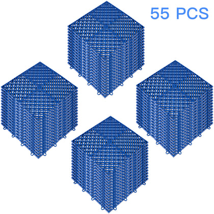 Rubber Tiles Interlocking Garage Floor Tiles 12x12x0.5 Inch 55pcs Deck Tile Blue