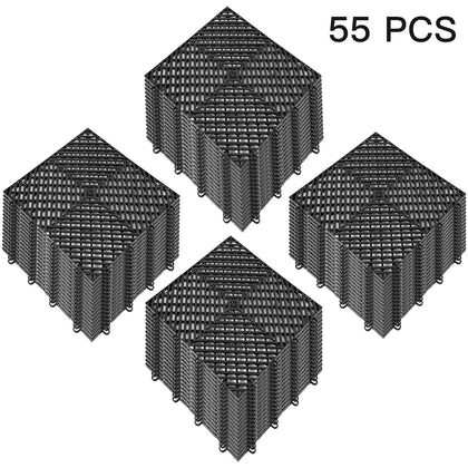 Nitro Tiles Interlocking Garage Floor Tiles 12x12x0.5inch 55pcs Deck Tile Black