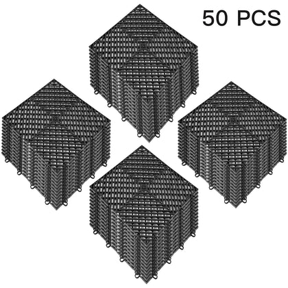Rubber Tiles Interlocking Garage Floor Tiles 12x12x0.5inch 50pcs Deck Tile Black