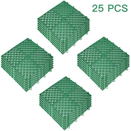 Rubber Tiles Interlocking Garage Floor Tiles 12x12x0.5inch 25pcs Deck Tile Green