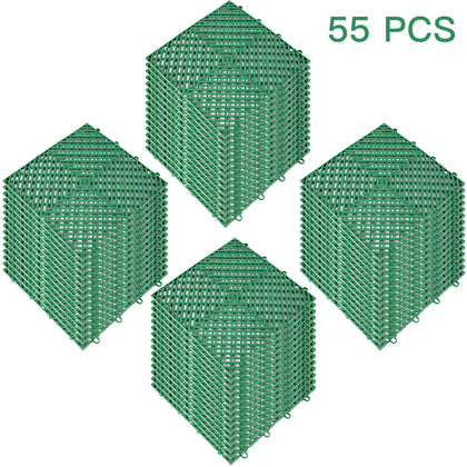 Rubber Tiles Interlocking Garage Floor Tiles 12x12x0.5inch 55pcs Deck Tile Green