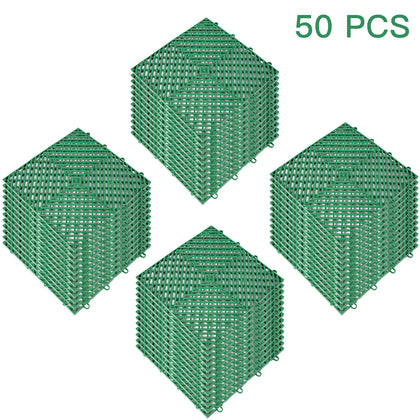 Rubber Tiles Interlocking Garage Floor Tiles 12x12x0.5inch 50pcs Deck Tile Green