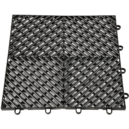 Rubber Tiles Interlocking Garage Floor Tiles 12x12x0.5inch 25pcs Deck Tile Black