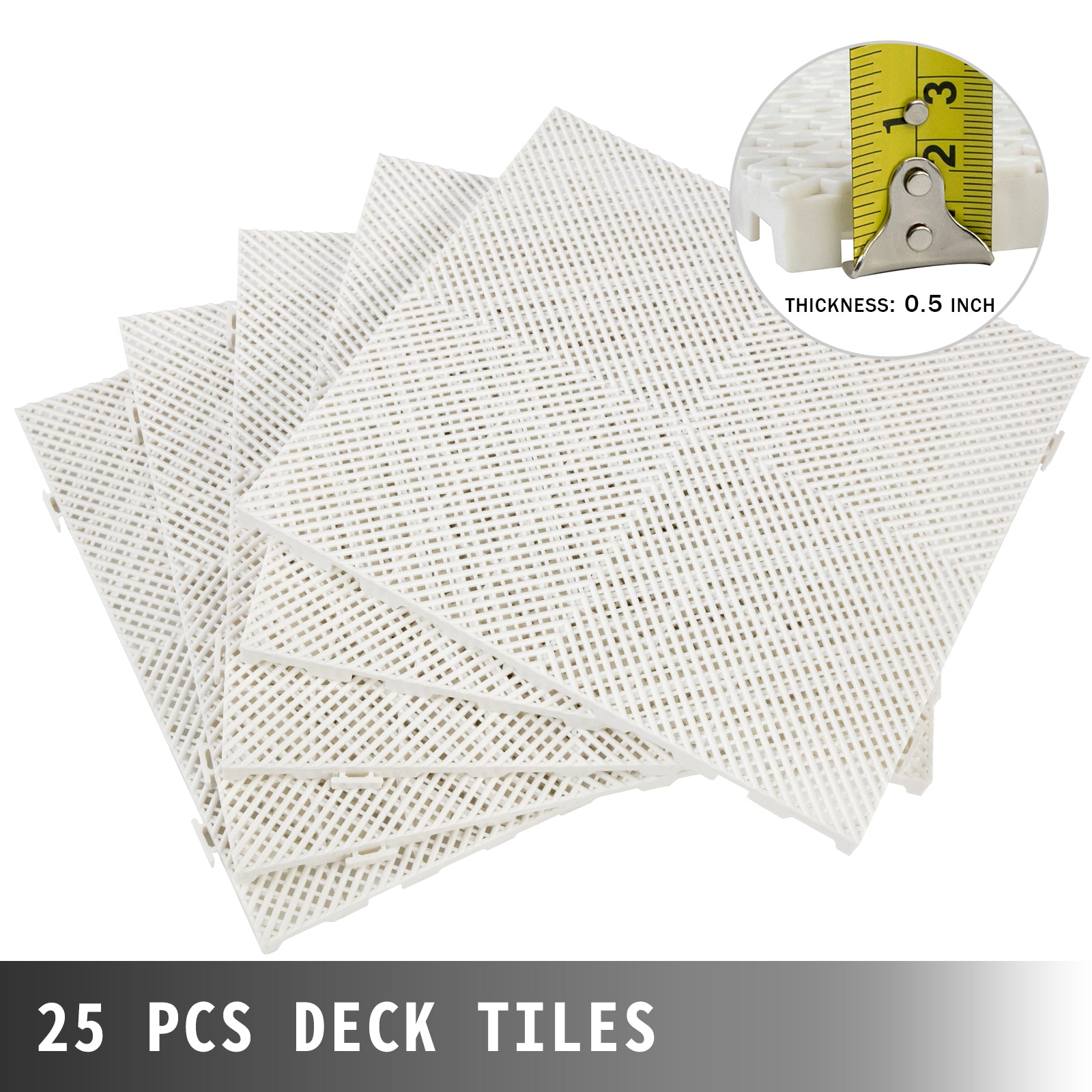 Rubber Tiles Interlockinggarage Floor Tiles11.8x11.8x0.5 Inch 25 Pcs Deck Tile