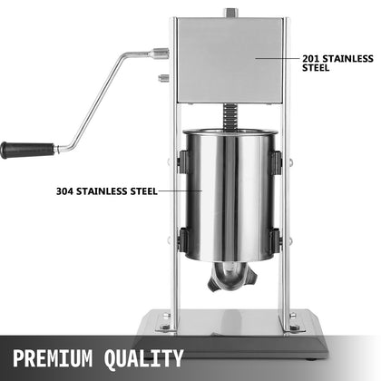 7l Vertical Sausage Stuffer Meat Maker Filler Stainless Steel Commercial