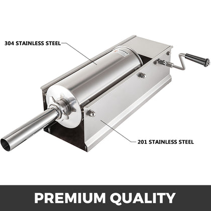 Horizontal Sausage Stuffer Manual Sausage Stuffing Machine 7l Stainless Steel
