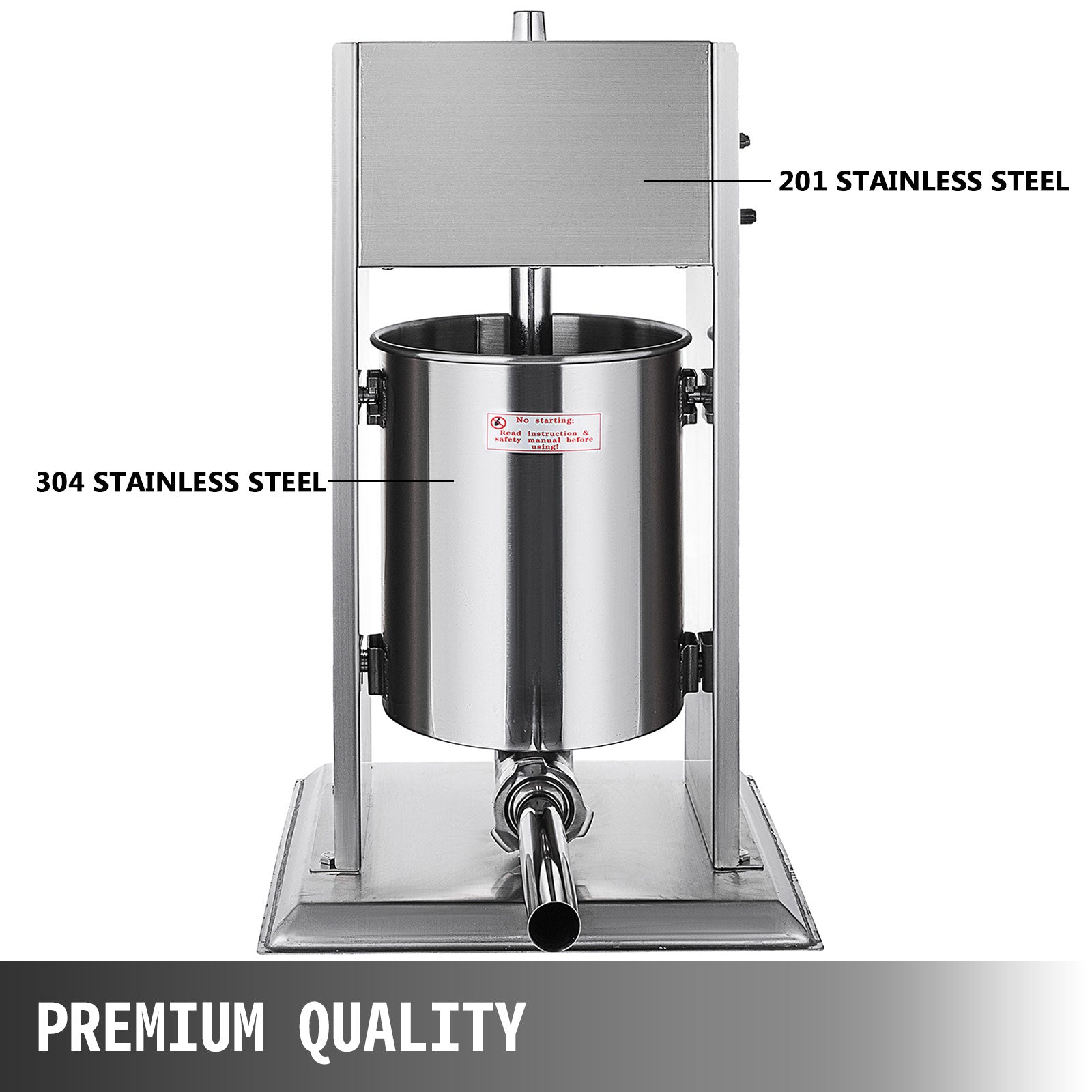 10l Vertical Commercial Sausage Stuffer Two Speed Stainless Steel Meat Press