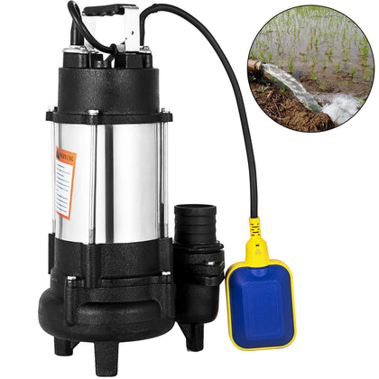 1hp Sewage Pump 6340gph Hmax 62ft Stainless Steel Submersible Sump Water23'cable