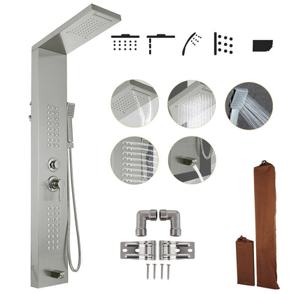 5 In1 Shower Panel Tower System Stainless Steel Commercial Waterfall Adjustable