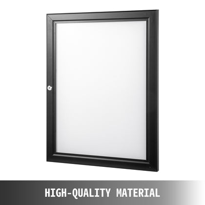 A3 Black Lockable Poster Display Case, Outdoor Menu Notice Board Waterproof