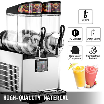Commercial Frozen Drink Machine Slushie And Margarita Maker 2 X 3.2 Gal Pc Tanks