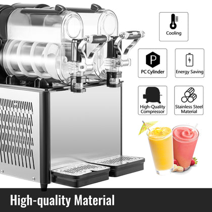 Commercial Frozen Drink Machine Slushie And Margarita Maker 2 X 0.79 Gal Pc Tank