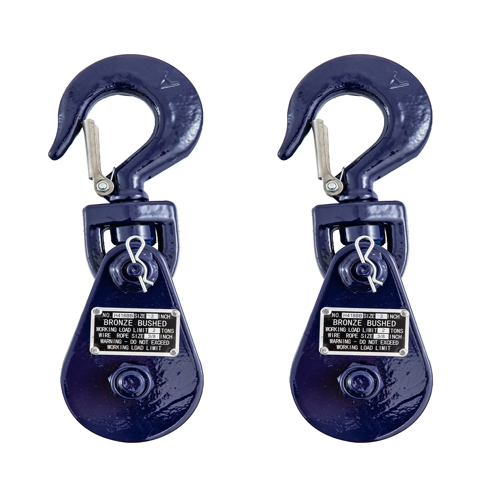 Snatch Block Snatch Latch 2tonw/ Hook Single Sheave Rope Rigging Pulley 2pcs