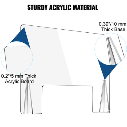 Vevor Sneeze Guard For Counter Acrylic Shield 24